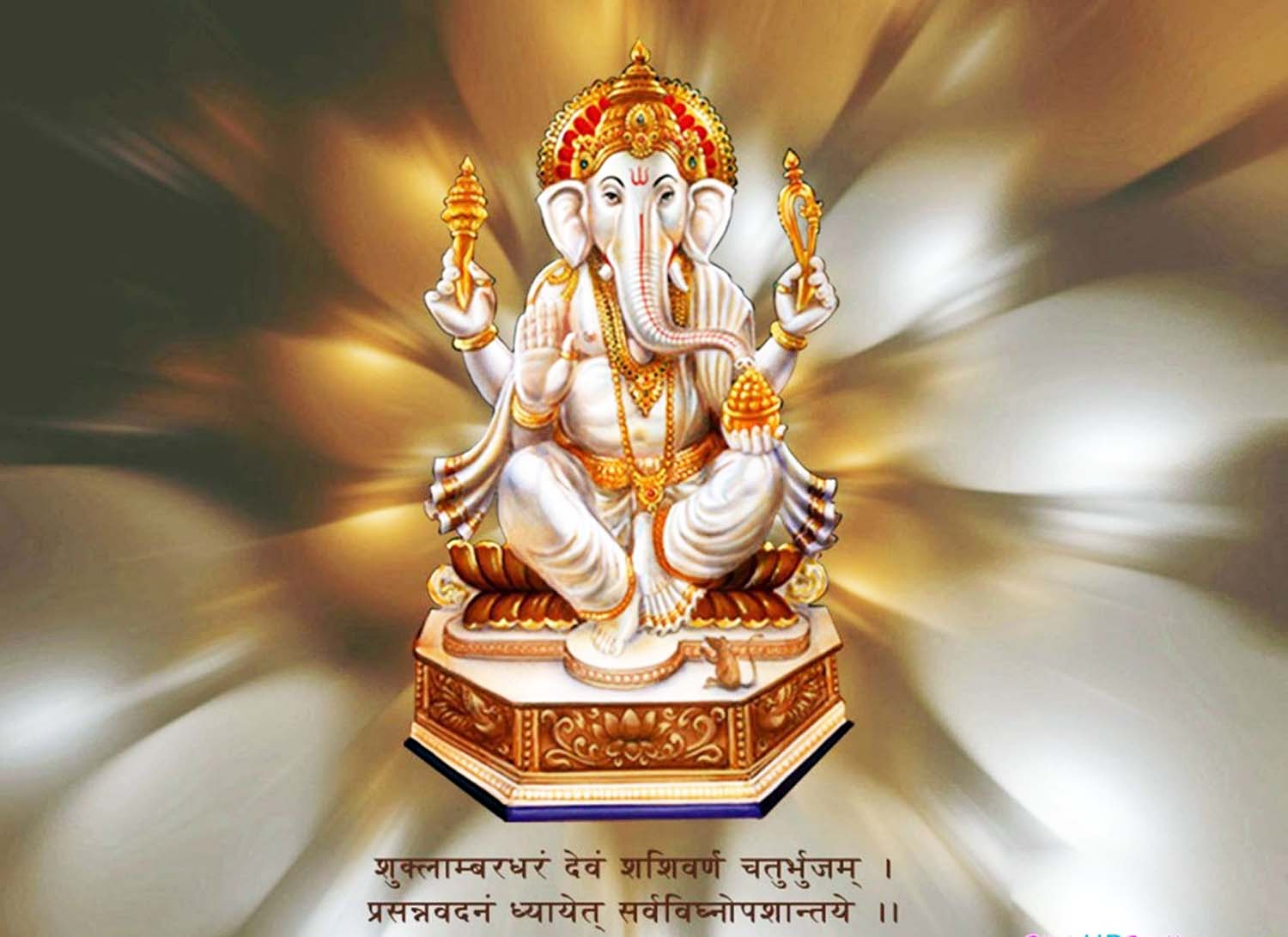 White God Vinayak Hd Photo with Mantra!