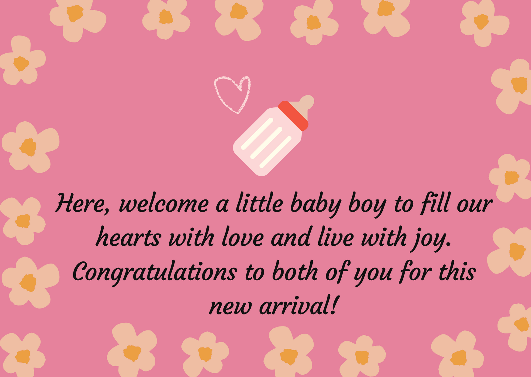 New baby boy wishes to parents