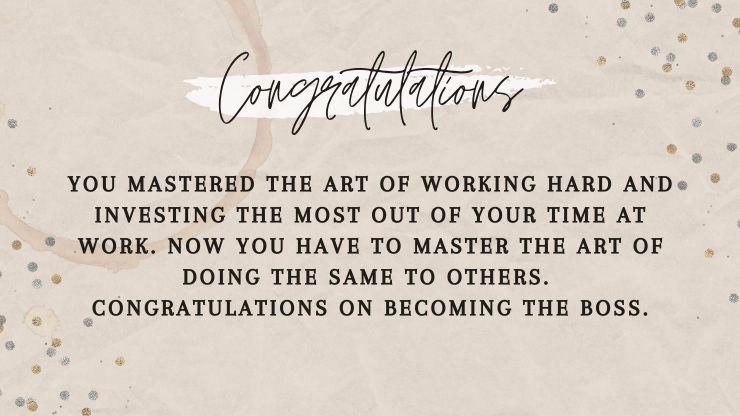 congratulatory message on promotion in job